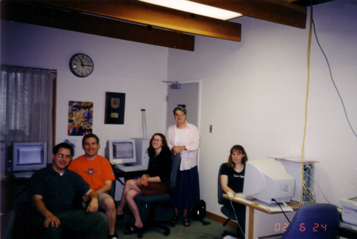 Digitization team 2004, Chris Benoit, Chris Amis, Abby Egerter, Mary Anderson, April Young,