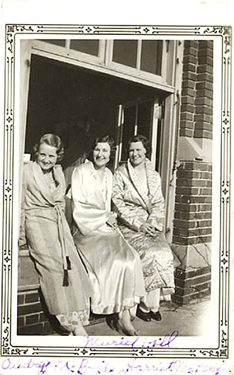 Audrey McBride, Muriel Hall and Harriett McKenzie, tuberculosis patients at the San.